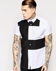 Asos Shirt In Short Sleeve With Abstract Print White