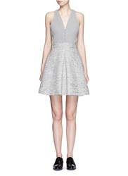 Alexander Mcqueen Tweed Skirt Racerback Pouf Dress Grey