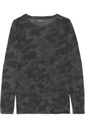 Majestic Camouflage Print Cotton And Cashmere Blend Jersey Top Gray