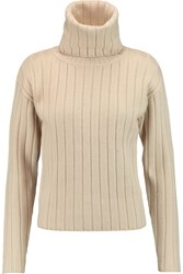 Dkny Ribbed Boiled Wool Turtleneck Sweater Nude