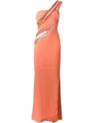 Zuhair Murad One Shoulder Fitted Dress Yellow And Orange