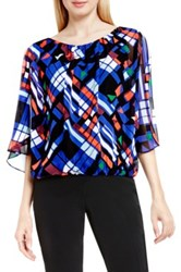 Vince Camuto Graphic Map Print Batwing Blouse Multi