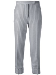 Thom Browne Pinstripe Cropped Trousers Grey