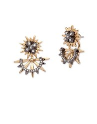 Jenny Packham Two Tone Front Back Stud Earrings Gold
