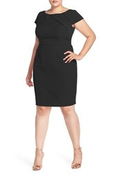 Adrianna Papell Plus Size Women's Origami Yoke Cap Sleeve Sheath Dress Black
