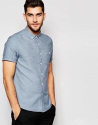 Asos Twill Shirt In Blue Marl With Short Sleeves Blue