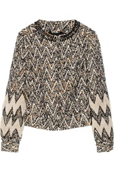 Tory Burch Cory Embellished Boucle Jacket White
