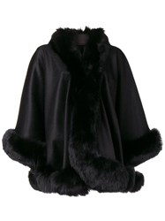 Liska Fur Trimmed Cape Black