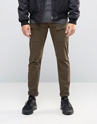 Asos Super Skinny Trousers With Cargo Styling In Khaki Khaki Green