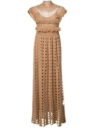 Ryan Roche High Neck Knitted Dress Women Acetate Cashmere M Brown