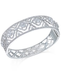 Macy's Diamond Flowers And Lace Bangle Bracelet 6 Ct. T.W. In 14K White Gold