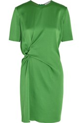 Lanvin Gathered Satin Crepe Mini Dress Bright Green