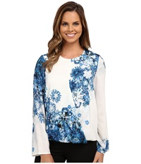 Adrianna Papell Printed Crossover Top Navy Ivory Women's Long Sleeve Pullover Blue