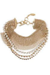 Lanvin Gold Tone Crystal Choker One Size