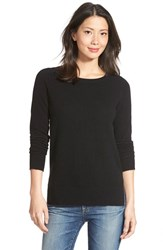 Petite Women's Halogen Crewneck Lightweight Cashmere Sweater Black