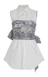 Adeam Sumie Organza Button Up Bustier Top White