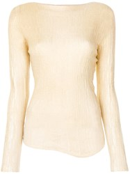Avant Toi Fitted Embroidered Top Silk Polyester Cashmere Nude Neutrals