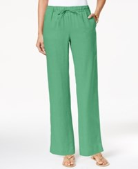 Charter Club Linen Pull On Drawstring Pants Only At Macy's Chilled Mint