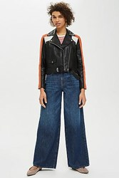 Topshop Motocross Leather Biker Jacket Black