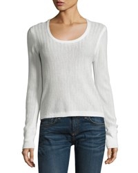 Rag And Bone Estelle Herringbone Cashmere Scoop Neck Sweater Ivory