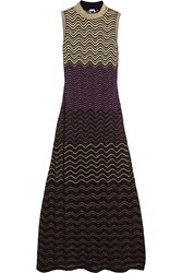 M Missoni Metallic Crochet Knit Maxi Dress