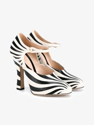 Gucci Zebra Leather Mary Jane Pumps Black White Almond Pearl