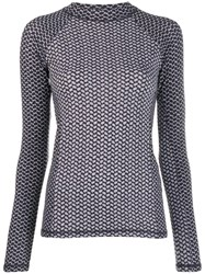 Lala Berlin Printed Long Sleeve Top Grey
