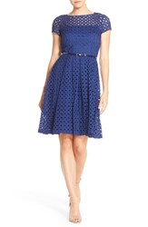 Ellen Tracy Women's Eyelet Lace Fit And Flare Dress Navy