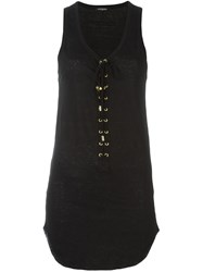 Balmain Lace Up Front Sleeveless Top Black