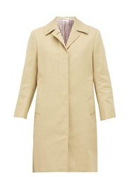 Thom Browne Single Breasted Cotton Coat Beige