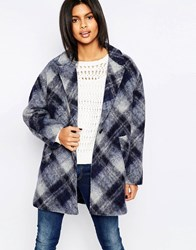 Pepe Jeans Tattler Checked Wool Mix Coat 585Marine Navy