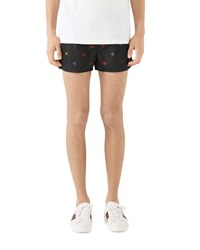 Gucci Signature Bee Embroidered Short Swim Trunks Black