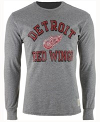 Retro Brand Men's Detroit Red Wings Primary Mock Twist Long Sleeve T Shirt Gray