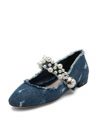 Miu Miu Pearly Denim Mary Jane Flat Blue