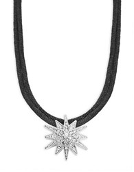 Kenneth Jay Lane Double Cord Crystal Pave Star Pendant Necklace Silver