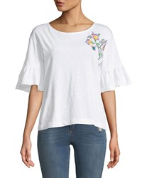 Chelsea And Theodore Embroidered Ruffle Sleeve Tee White
