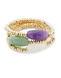 Abs By Allen Schwartz Summer Nights Amethyst Aventurine And Rock Crystal Set Of 3 Stretch Bracelets Gold