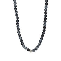 Barneys New York Snowflake Obsedian Beaded Necklace Black