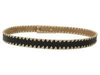 Kate Spade Nappa And Straw Scalloped Belt Black Natural Women's Belts