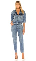 Hudson Jeans Fitted Long Sleeve Jumpsuit In Blue. Magnetize