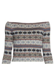 Alexander Mcqueen Fair Isle Jacquard Off The Shoulder Top Navy Multi