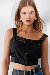 Urban Outfitters Uo Jilly Ann Button Down Lace Cami Black