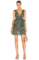 N 21 No. Ruffle Mini Dress In Floral Green Floral Green