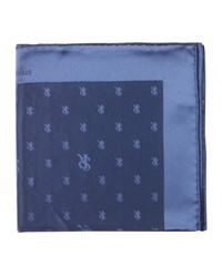 Stefano Ricci Silk Logo Pocket Square Navy
