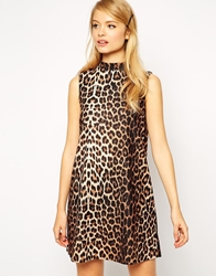 Asos Shift Dress With Funnel Neck In Animal Print Multi