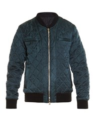 Balmain Badge Embellished Diamond Quilted Bomber Jacket Green