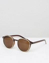 Jeepers Peepers Round Clear Lens Clip Frame Glasses Brown