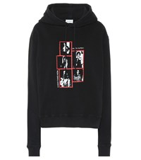 Saint Laurent Printed Cotton Hoodie Black