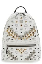 Mcm Men's Medium Stark Visetos Studded Logo Backpack White