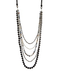 Nakamol Long Multi Strand Agate And Crystal Necklace Black Silver